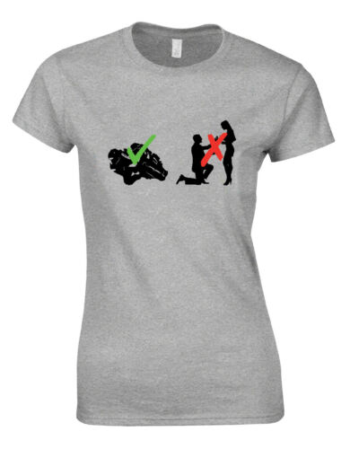 Motorbikes Not Marriage Biker Racing Funny Womans Cut Shirt Top AJ36