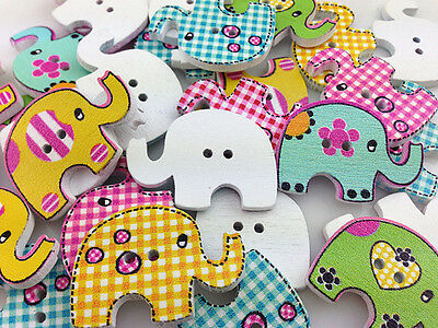 10-100pcs MIX Elephant Pattern Wooden Buttons Fit Sewing and Scrapbook 30.00mm