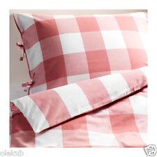 Ikea Emmie Ruta Twin Duvet Cover Pillowcase White/Pink Bedding 100%Cotton