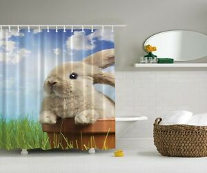 Image Is Loading Cute Bunny In Pot Graphic Shower Curtain Spring