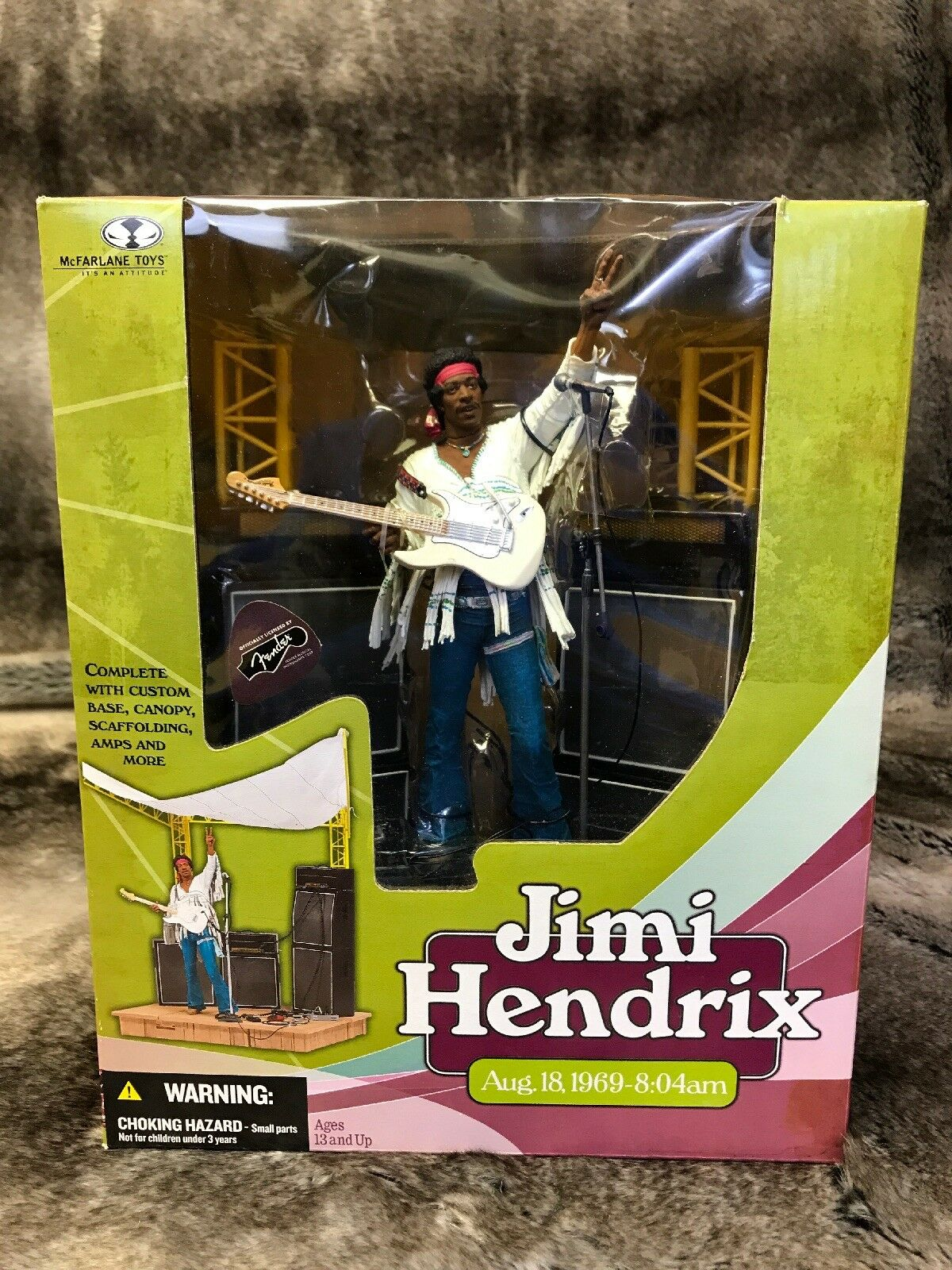 McFarlane Toys Jimi Hendrix Aug. 18 1969 - 8:04am Officially Licensed By Fender