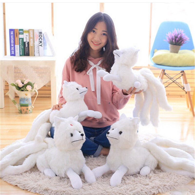 Simulated Nine-tailed   Lifelike Cartoon White Animal Soft Plush Doll Kid Gift