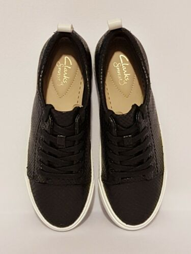 CLARKS GLOVE ECHO BLACK SNAKE GENUINE LEATHER LACE UPS TRAINERS SHOES LADIES