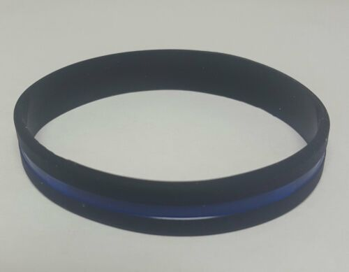 Thin Blue Line Bracelet Police Support Silicone Wristband Back the Blue