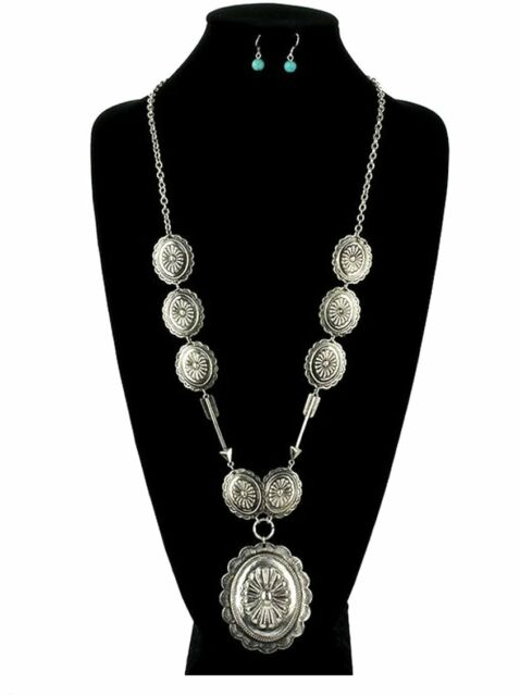 Cowgirl Long Silver Tone Concho South Western Necklace Set