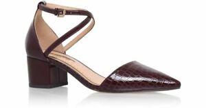 17eecf5ba47 Details about Miss KG Kurt Geiger Burgundy Snakeskin Patent Mid Block Heel  Pointed Shoes Sz 4