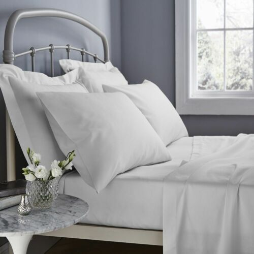 Catherine Lansfield 500 Thread Count Cotton Rich Flat Sheets White Grey Cream