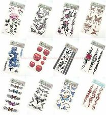 12 sheets temporary tattoo rose flower butterfly discount  fake tattoo