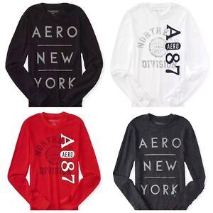Detalles de Nuevo Manga Larga Aeropostale Para Hombre Aero 87 térmica de la ciudad de Nueva York Gráfico camiseta Roja XS, M, L ver título original