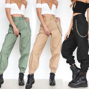 Großhandel Koreanische Dünne Taille Mädchen Cargo Kette Hosen Militär Armee Camouflage Hohe Taille Camo Hosen Frauen Jogginghose Jogger Streetwear Von