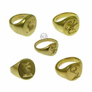 9ct-Yellow-Gold-YOUR-Family-Crest-Rings-Oval-Signet-Rings-375-Fully-UK-HM-Solid