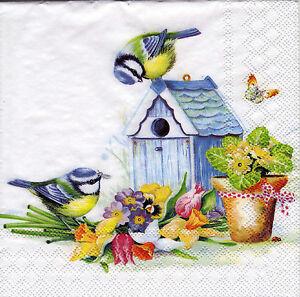 4 lose servietten napkins vogelhaus meisen blumen. Black Bedroom Furniture Sets. Home Design Ideas
