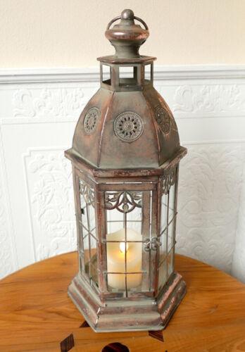 Laterne Windlicht Vitrine Gewächshaus Kupfer Shabby Landhaus Vintage Metall 49cm