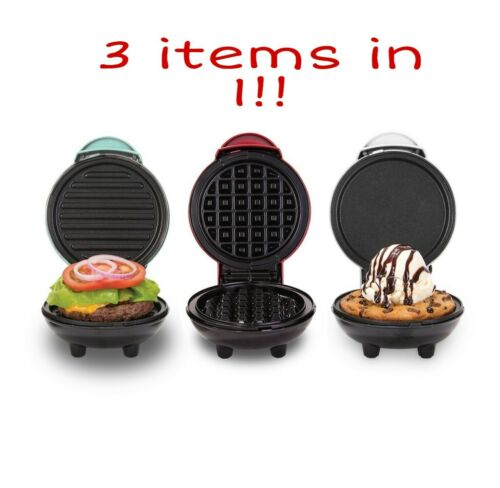 3 pack Waffle Iron Dash DGMS03GBCL Mini Maker Grill Red//Aqua//White Griddle
