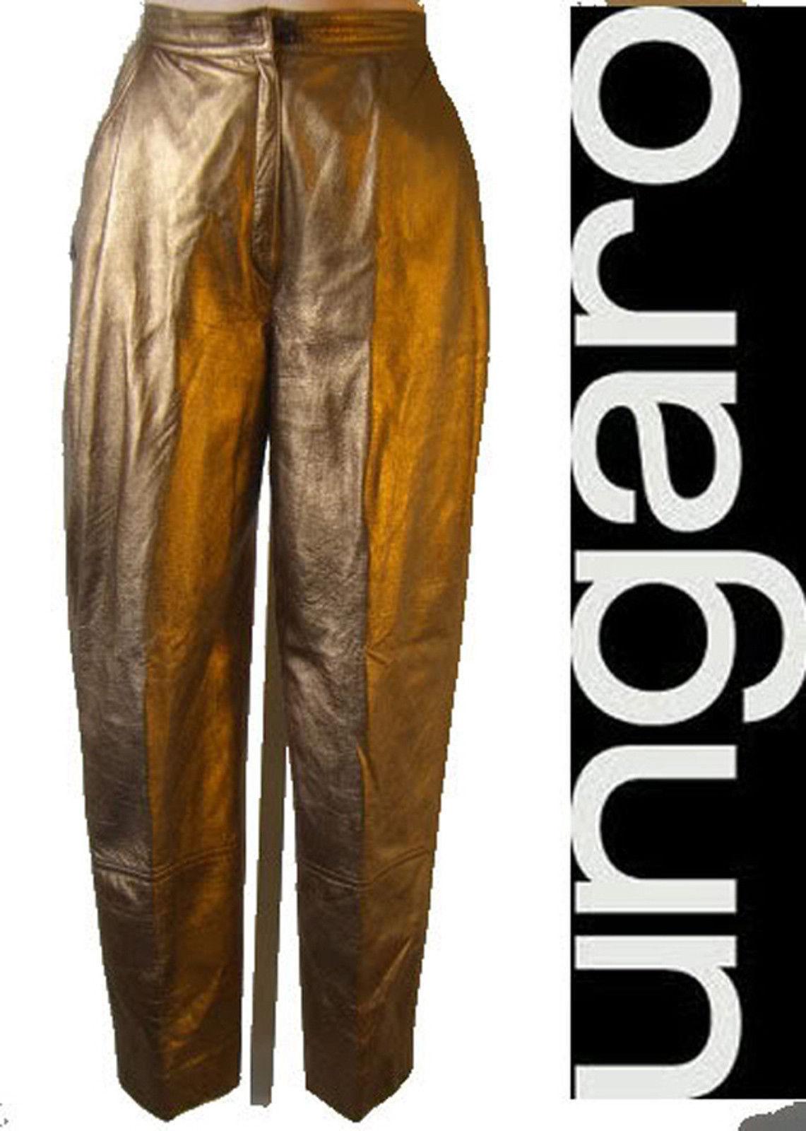 EMANUEL UNGARO parallele gold Leather suit pant 4 24 jean vintage disco s boler