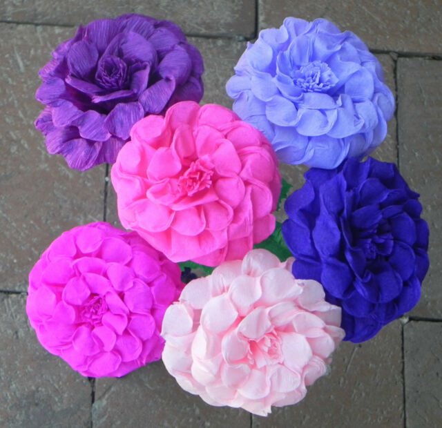 Mexican Crepe Paper Flowers Bouquet Of 6 Multicolor Flowers Colored Edges Party