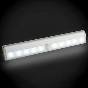 10 LED Bright Wireless PIR Motion Sensor Light Cabinet Wardrobe Drawer Lamp WH