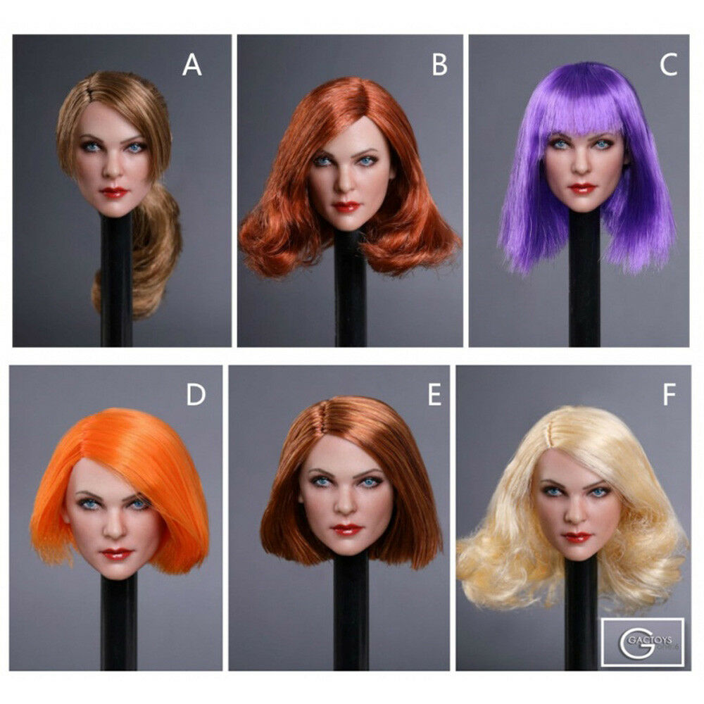 1/6 Female Head Sculpt lila ROT Hair GC019 For 12
