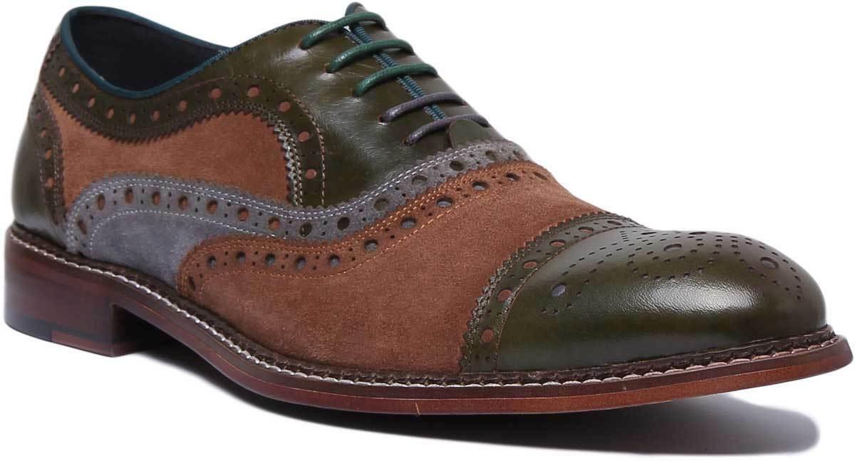 Justin Reece England Smith Herren Leder Schuhe In Olivgr un EU Grosse 40 - 47