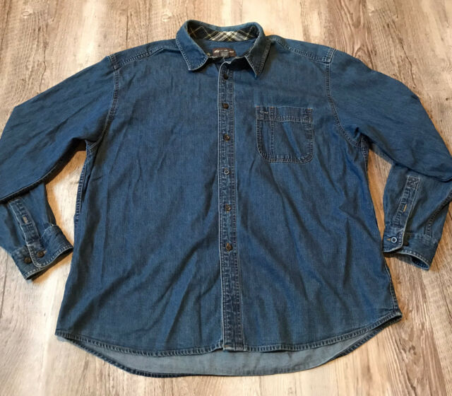Eddie Bauer Long Sleeve Button Up Denim Shirt Men's Size XL