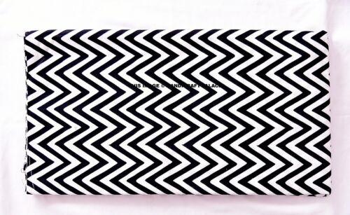 5 Yards Indian Handmade Printed Fabric Black White Print Cotton Dress`Fabric
