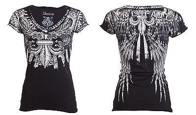 Archaic AFFLICTION Womens T-Shirt STRONG WIND Tattoo Biker UFC Sinful S-XL $40 a