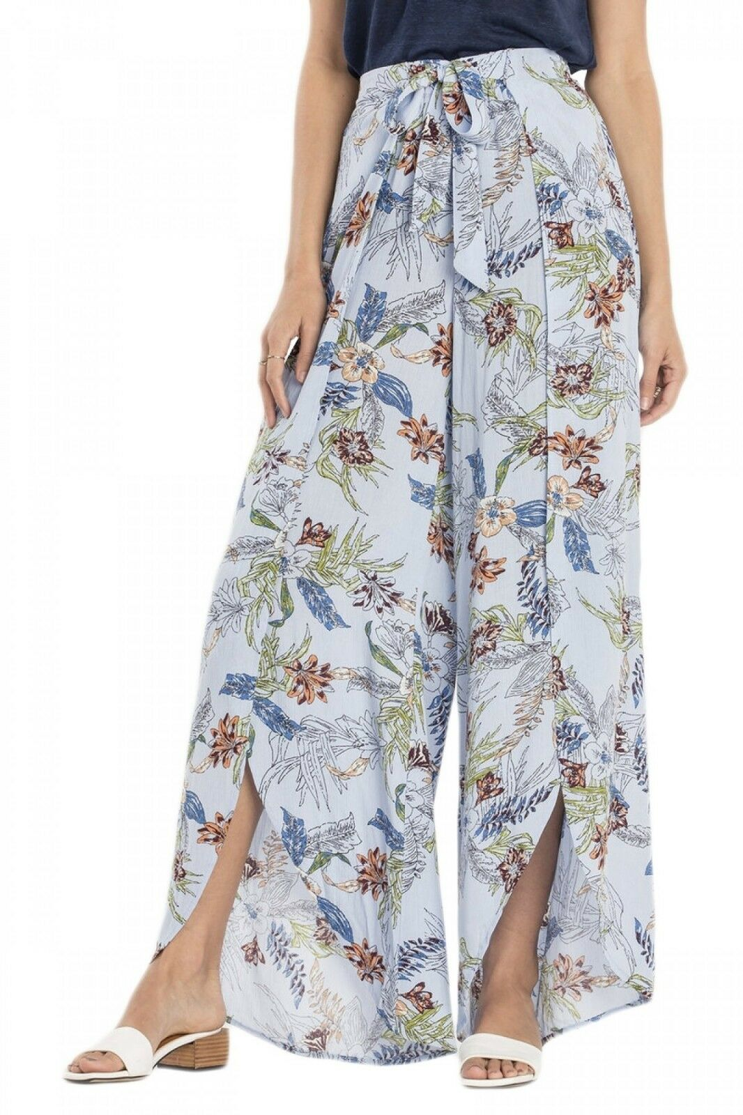 Miss Me Light bluee Floral Print Split Palazzos MMP0010L