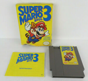 NES-Super-Mario-Bros-3-w-Box-amp-Manual-Bottom-Of-Box-Ripped-Off-Genuine-Game