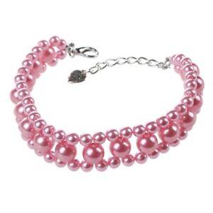 Drei-Reihen-Kuenstlich-Perlen-Verknuepft-Haustier-Hundehalsband-Halskette-S-V2M4