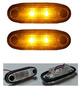 2x-Flush-LED-Ambar-Marcador-12v-Para-Techo-Barra-Parachoques-Peldano-4x4-SUV