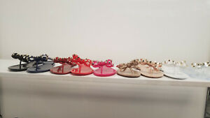 Womens-Studded-Jelly-Bow-Thong-Flip-Flop-Flat-Sandals