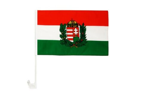 Ungarn mit Wappen Autofahne Autoflagge Fahnen Auto Flaggen 30x40cm