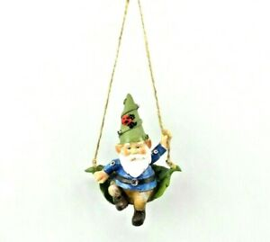Details About Ornament Gnome On Swing With Ladybug Hat Tree Holiday Garden Decoration