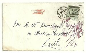 1882-RED-HANDSTRUCK-INSUFFICIENTLY-ADDRESSED-OF-LEITH-ON-LOCAL-WRAPPER