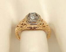 Women's 14K Yellow Gold .20 Ct. Round Diamond Filigree Engagement Ring Size 5