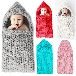 Newborn Baby Hooded Swaddle Wrap Knit Crochet Swaddling Blanket