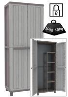 Wood Effect Plastic Garden Storage Cupboard. Indoor or Outdoor Cabinet.  TDJW368