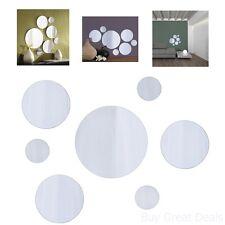 Wall Mount Round Mirror Set 7pc Decor Home Bathroom Mirrors Art Glass Hanging