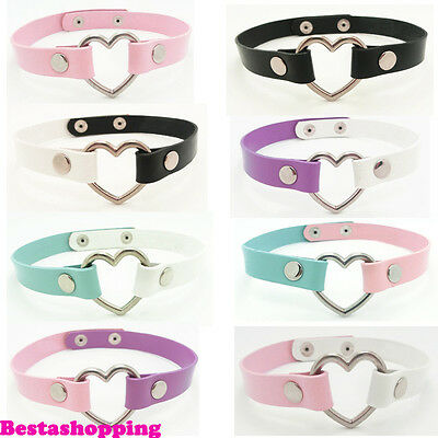 Sexy Harajuku Handmade Real Leather Collar Punk Rock Goth Heart Choker Necklace