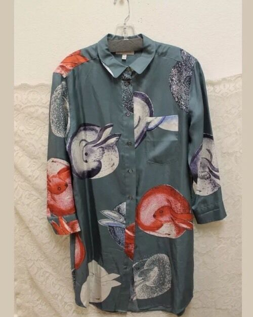 Anthropologie Bunny Rabbits    Silk Shirt Dress Zoologist Charlotte Linton Sz 4 74c828