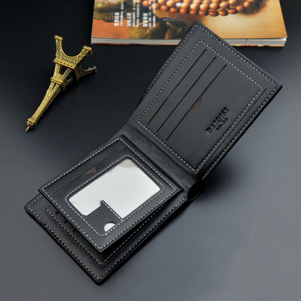 1pc Wallet Zippered Card Bag Card Holder Leather Purse for Boy Business