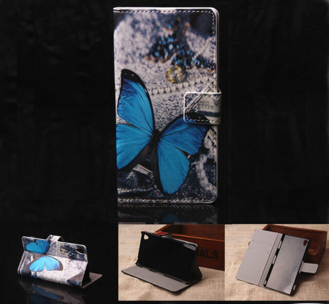 Blue Butterfly Leather Wallet Card Case Stand Cover For Various Smart Phone GX14