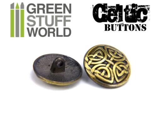 """5//8/"""" Metal Shank button Antique Gold 8x CELTIC eternal Knuds Buttons 17mm"""