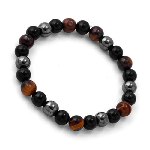 Men/'s Hematite /& Tiger/'s Eye Stone Beaded Bracelet Gift Jewelry 8mm