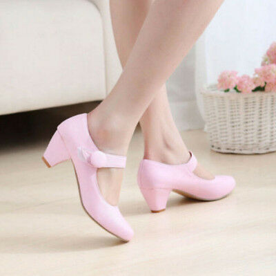 Sweet Color Women's Mary Jane Round Toe Pumps Velcro Shoes Creeper Dress Plus Sz