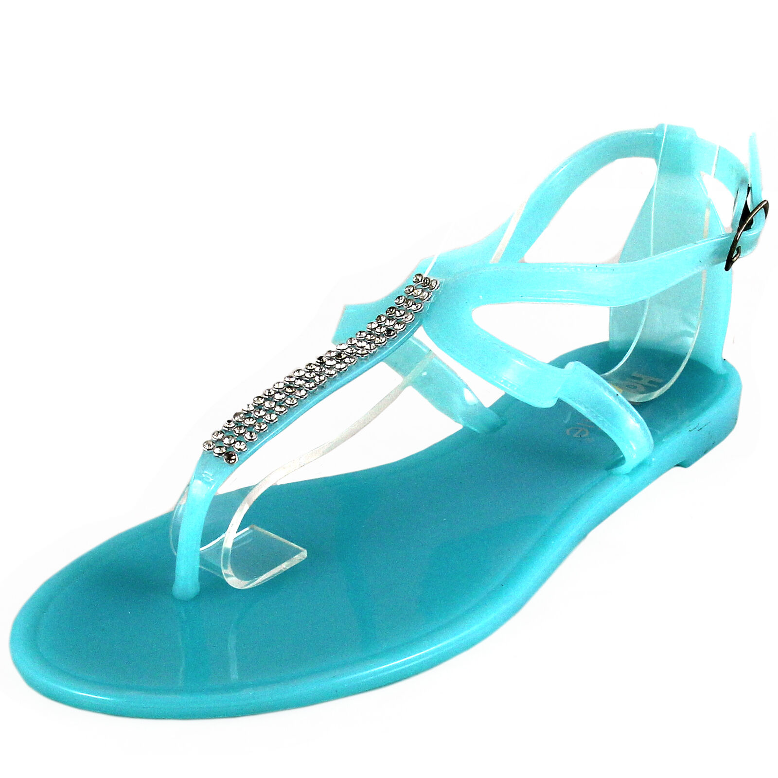 New toe women's shoes fashion jelly sandals t strap open toe New casual summer aqua blue b6f984