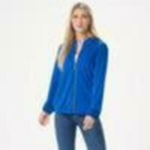 Susan Graver Solid/Printed Liquid Knit Bomber Jacket (Electric Blue, L) A351022