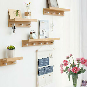 Wall Hooks Coat Rack Crochet Clothes Hook Bamboo Floating Shelf Bedroom Shelves Ebay