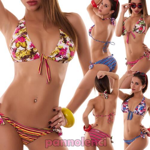 Bikini donna costume da bagno mare triangolo fiori righe due pezzi nuovo SE442