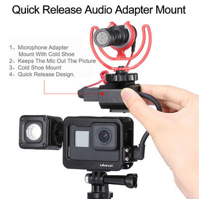 Gopro Housing Vlogging Frame Cage with Microphone Cold Shoe Mount /& 1//4 Screw Interface for GoPro Hero 7 6 5 Action Camera Case Mic Adapter Audio Video Accessories
